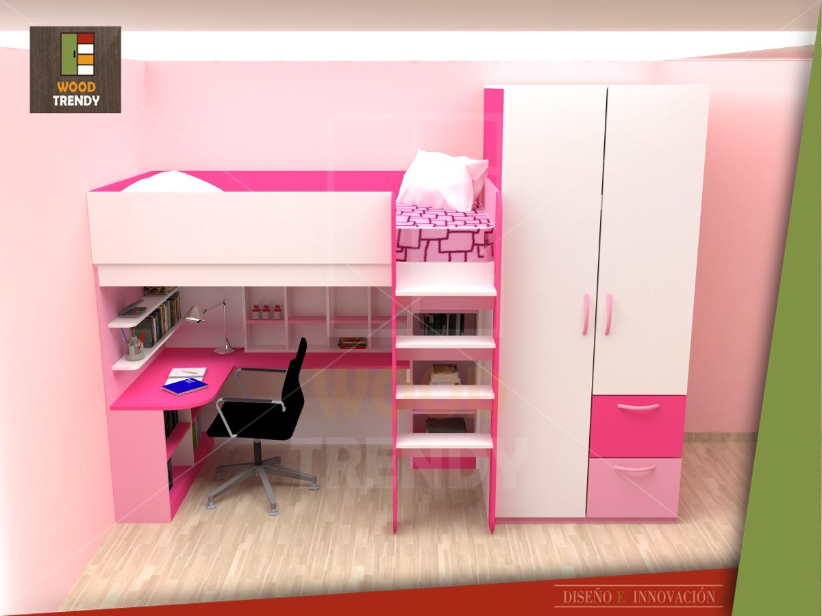 Camarote ropero y escritorio de melamina s en for Dormitorios para ninas villa el salvador