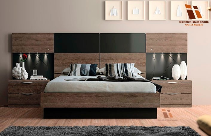 Camas lineales modernas 2 plazas con luz led u s 630 00 for Buros de cama modernos