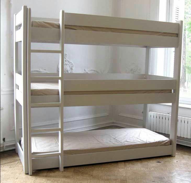 camas triliteras en madera de roble toda modernas - Literas Modernas