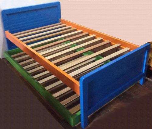 Camas nido en madera una plaza plaza y media dos plazas - Dos camas en una ...