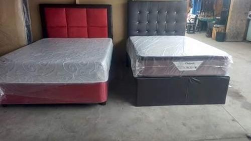 camas nuevas estilo americano (base, colchón y cabecera)