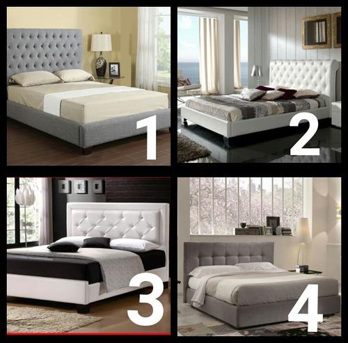 camas tapizadas con copete individual matrimonial queen king