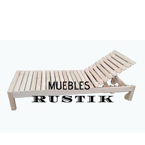 camastro reposera de madera con ruedas