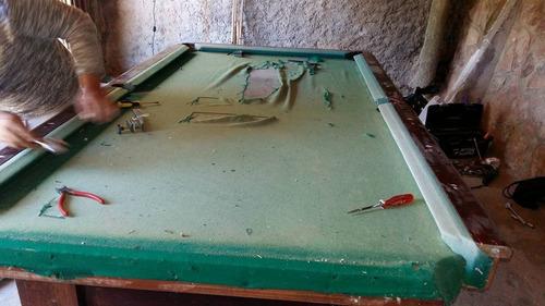 cambio de paño y restauracion mesa de pool, billar.