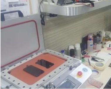 cambio micas y tactiles con maquinas especiales y pega oca