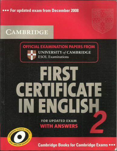 cambridge first certificate in english 2 with answers new