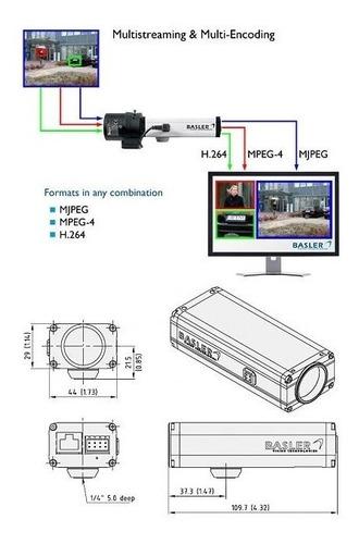 camera basler bip2 640c-dn 12vcc (ocr) c/ lente c/ nf