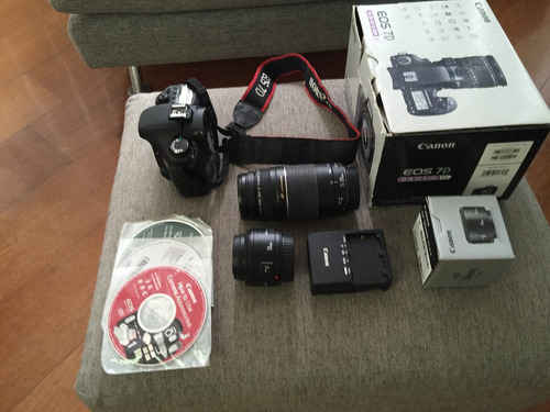 camera canon eos 7d com kit de lentes