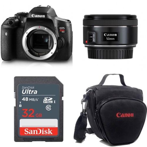 camera canon rebel t6i corpo lente 50 1.8 stm + bolsa+sd32gb