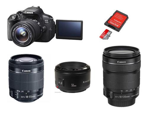 camera canon t5i + lentes 18-55 + 18- 125 stm + 50mm 1.8