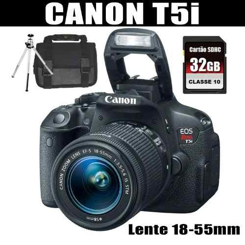 camera digital canon rebel t5i lente 18-55m+tripé+32gb+bolsa