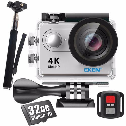 camera eken h9r original 4k youtuber controle + bastão +32gb