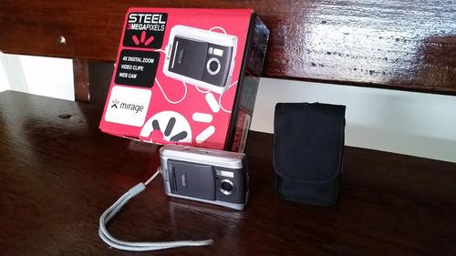 camera fotográfica mirage steel 3mp completa! colecionador
