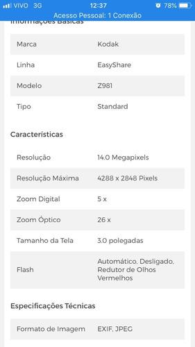 camera fotográfica semi profissional kodak easy share z981