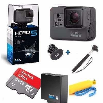 camera go pro hero 5 black tela lcd 64gb+ bateria+2 bastao
