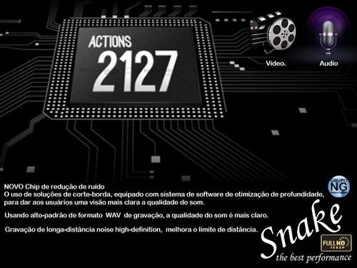 camera hd na moto no carro na bike voz video + 32gb snake