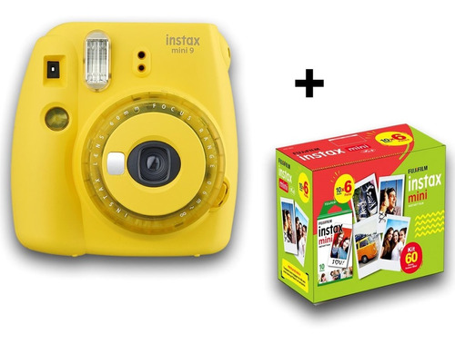 camera instax fuji mini 9 + 60 fotos, novas cores