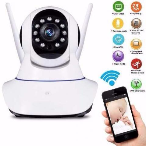 camera ip 1.3 mp wifi alta resolução hd 720p p2p 2 antena