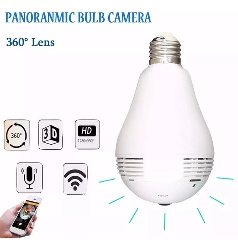 camera ip espia wifi vr 380 lampada led  360º panoramica