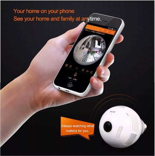 camera ip seguraca lampada vr 360 panoramica espia wifi c/2
