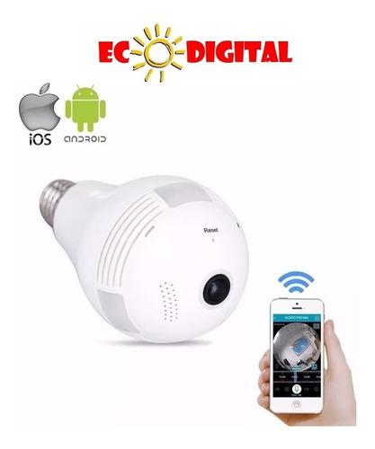 camera ip seguraca lampada vr 360 panoramica espia wifi c/6