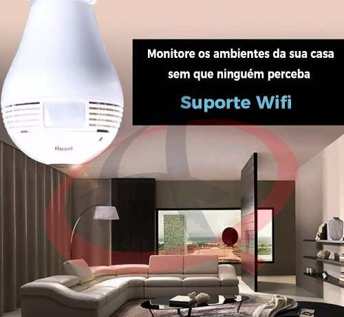 camera ip seguraca lampada vr 360 panoramica espia wifi novo