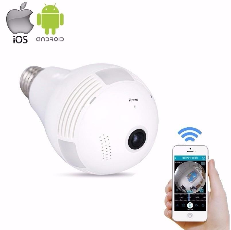 Camera Ip Seguraca Lampada Vr 360 Panoramica Espia Wifi V380 R