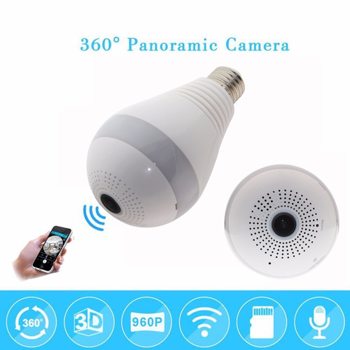 camera lampada led wifi ip hd panorâmica 360º espião celular