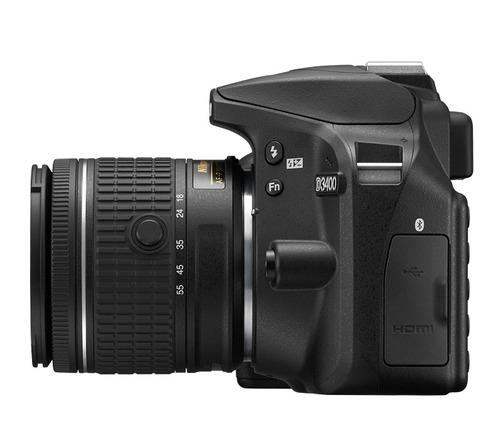 camera nikon d3400 lente 18x55mm mais 32gb bolsa e tripe