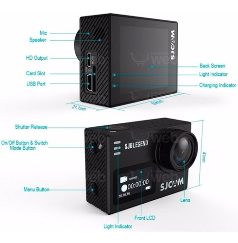 camera sjcam sj6 legend 4k full hd wifi gopro prova d'agua