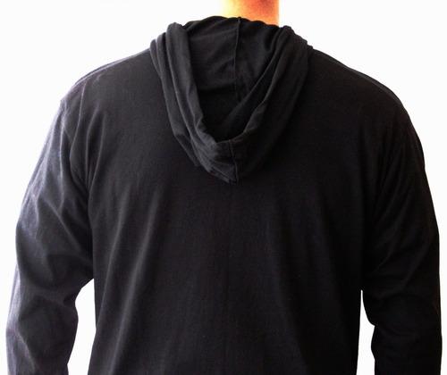 camibuso negro con capota algodón ropa hombre rollmarket