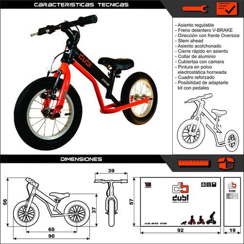 camicleta dubi pro k + kit con pedales bicicleta rodado 12