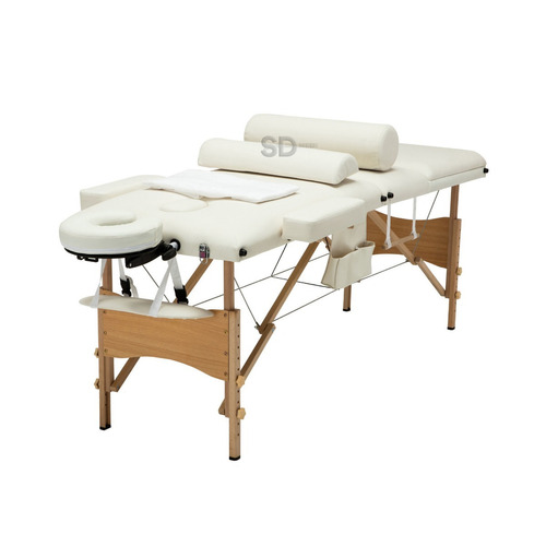 camilla 3 secciones de masaje profesional crema + accesorios