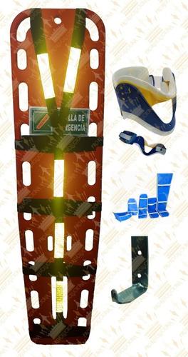 camilla de emergencia plástica, cuello, kit férulas, gancho