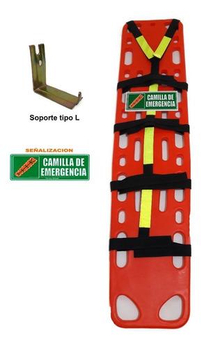 camilla de emergencia.+ soporte en l+ señalización.