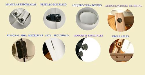 camilla macrofine plegable portátil 3 cuerpos / palo piña