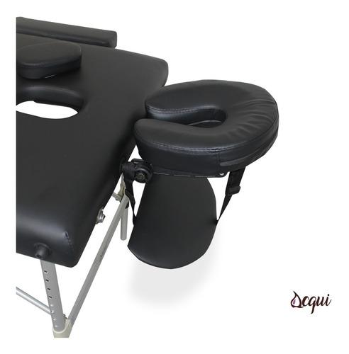 camilla masajes 2 cuerpos aluminio negra + bolso acqui r3346