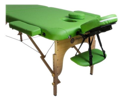 camilla masajes 2 cuerpos profesional madera. verde + bolso