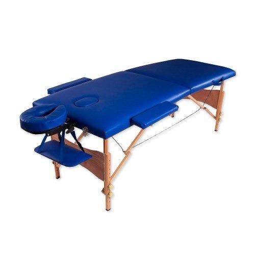 camilla masajes 2c madera azul +36 piedras + olla +sabanilla