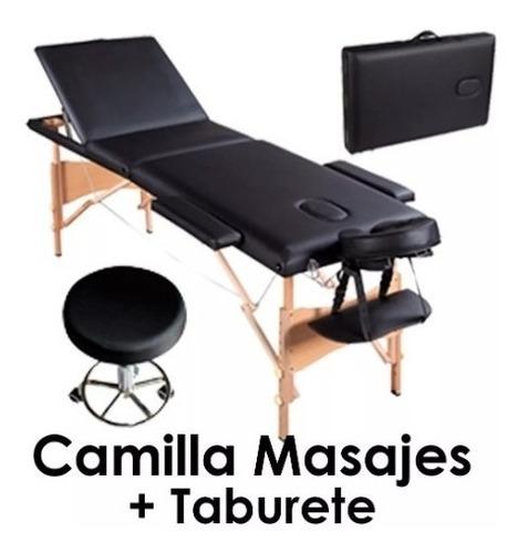 camilla masajes 3 cuerpos bolso + taburete- envio gratis