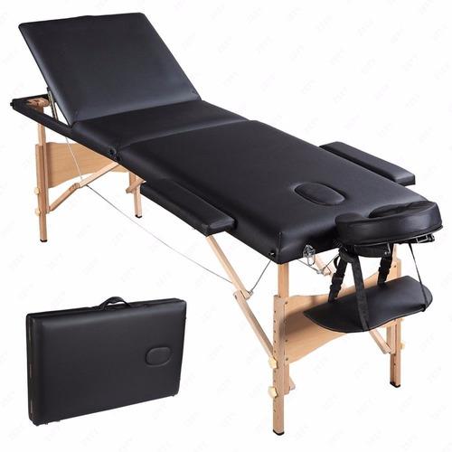 camilla masajes 3 cuerpos negra + bolso
