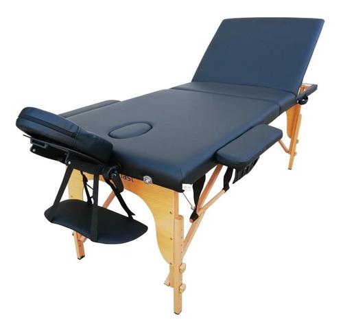 camilla masajes 3 cuerpos profesional madera. negro + bolso