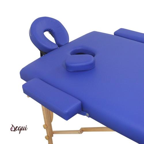 camilla masajes acqui 2 cuerpos madera azul bolso r / r3350