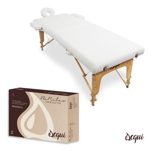 camilla masajes acqui 2 cuerpos madera blanca + bolso  r3351