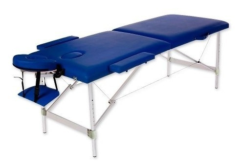 camilla masajes aluminio 2 cuerpos azul + olla + 36 piedras