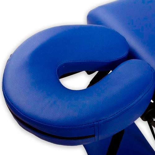 camilla masajes madera 3 cuerpo azul + olla + 60 piedras