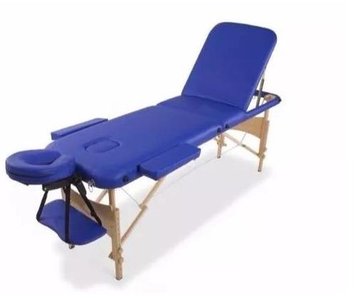 camilla masajes plegable 3 cuerpos portátil madera azul