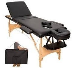 camilla masajes plegable madera 3 cuerp negro (215) / c & s