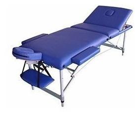 camilla masajes plegable portátil aluminio azul (224) c & s