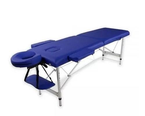 camilla masajes plegable portátil aluminio azul / c & s